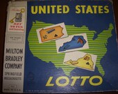 Vintage 1953 Milton Bradley Board Game and Pieces- United States Lottery