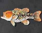 Bottlecap Fish Metal Wall Art - Large Mouth Bass