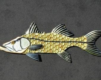 Metal Bottle Cap Fish Wall Art - Snook