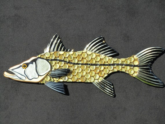 Items similar to metal beer bottlecap fish wall art for Fish metal wall art