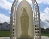 Vintage Mary of lourdes GLOWING Plastic Shrine