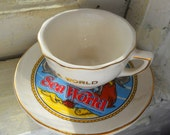 Souvenir Teacup Miniature from Sea World with Ocean Sea Animals Whale Fish Gold Edging