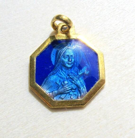 Vintage Gold French Religious Enamel Medal St Theresa Blue