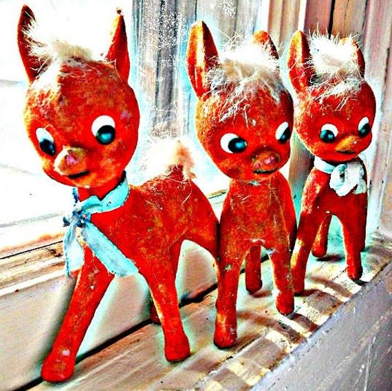 Sweet Vintage Flocked Red  Deer Plastic Decorations Instant Collection