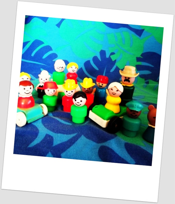 Vintage Plastic Fisher Price Little People Family Set Instant Collection with Cars and Baby Stroller