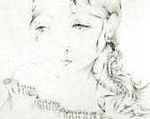 "Fantasy, Fine Art Print of my Original Drawing Black and White, 11 X 14, she's ""Innocence"""