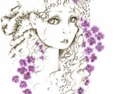 Fine Art Giclee Print of my Original Pencil Drawing of a Girl Fantasy Art Beautiful Face Illustration Pretty Girl Gift for Her Purple Flower