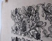 Australian coastal banksia design  - screen printed hemp and organic cotton tea TEA TOWEL / dish cloth