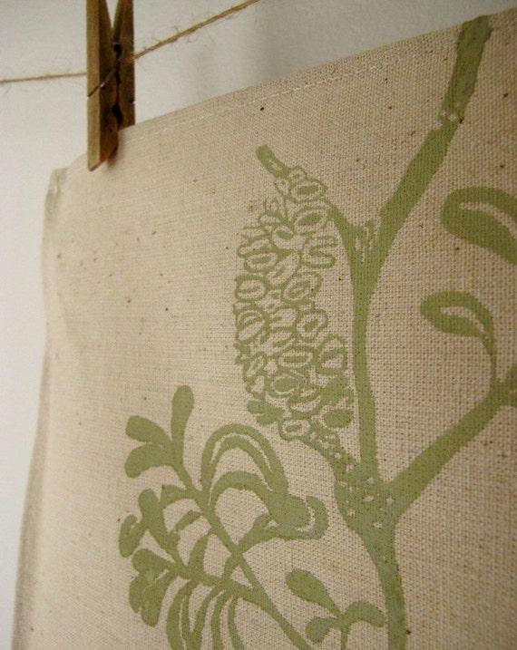 Australian coastal banksia design  - screen printed hemp and organic cotton TEA TOWEL l / dish cloth