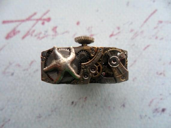 Steampunk Victorian Silver Starfish Watch Movement Ring II