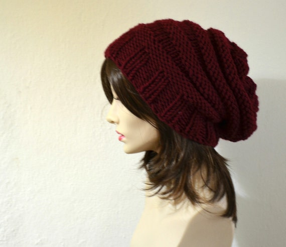 Burguny Hand Knit Chunky Slouchy Women Hat, Beanie, Knit Beret, Oversized Hat, Wool Beret