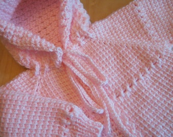 Pink Crochet Baby Sweater with Hood for Girl - Tunisian Crochet - MADE TO ORDER - Handmade