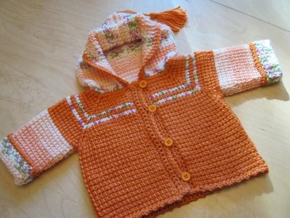Orange Crochet Baby Girl Sweater with Hood - Tunisian Crochet 0-6 Month - Handmade