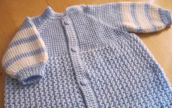 Blue and White Crochet Baby Boy Bunting - Sleeping Sack -  0-6 Month in Tunisian Crochet - Handmade