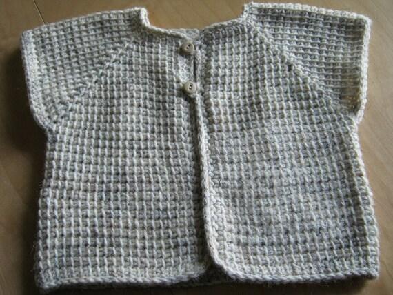 Brown Beige Taupe Crochet Boy Sleeveless Baby Sweater - 6-12 Months in Tunisian Crochet - Handmade
