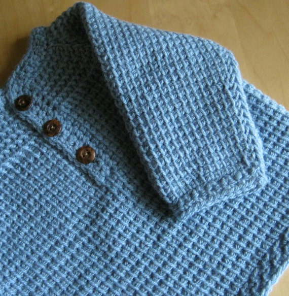 Blue Crochet Baby Boy Sweater - Pullover - 3-6 Months in Tunisian Crochet - Handmade