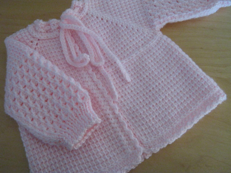 Pink Crochet Baby Girl Sweater 0-3 Months Tunisian Crochet