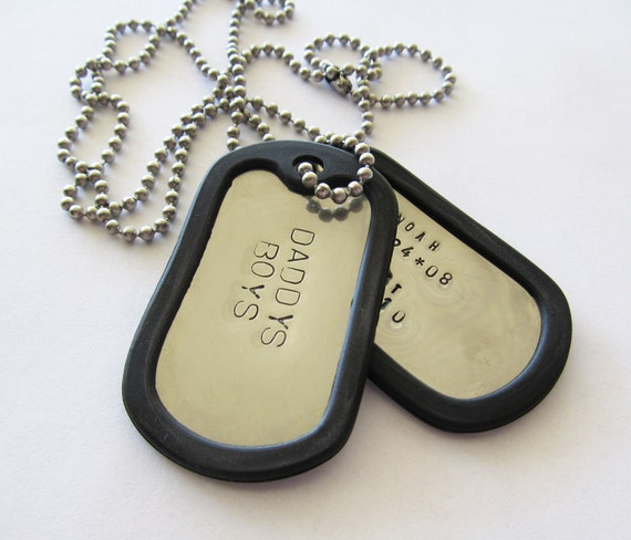 Personalized  Dog Tag Necklace - 2 tags - Hand Stamped - Military - Mens - Dad - Grandpa - Father - Son - Husband - Kids Names