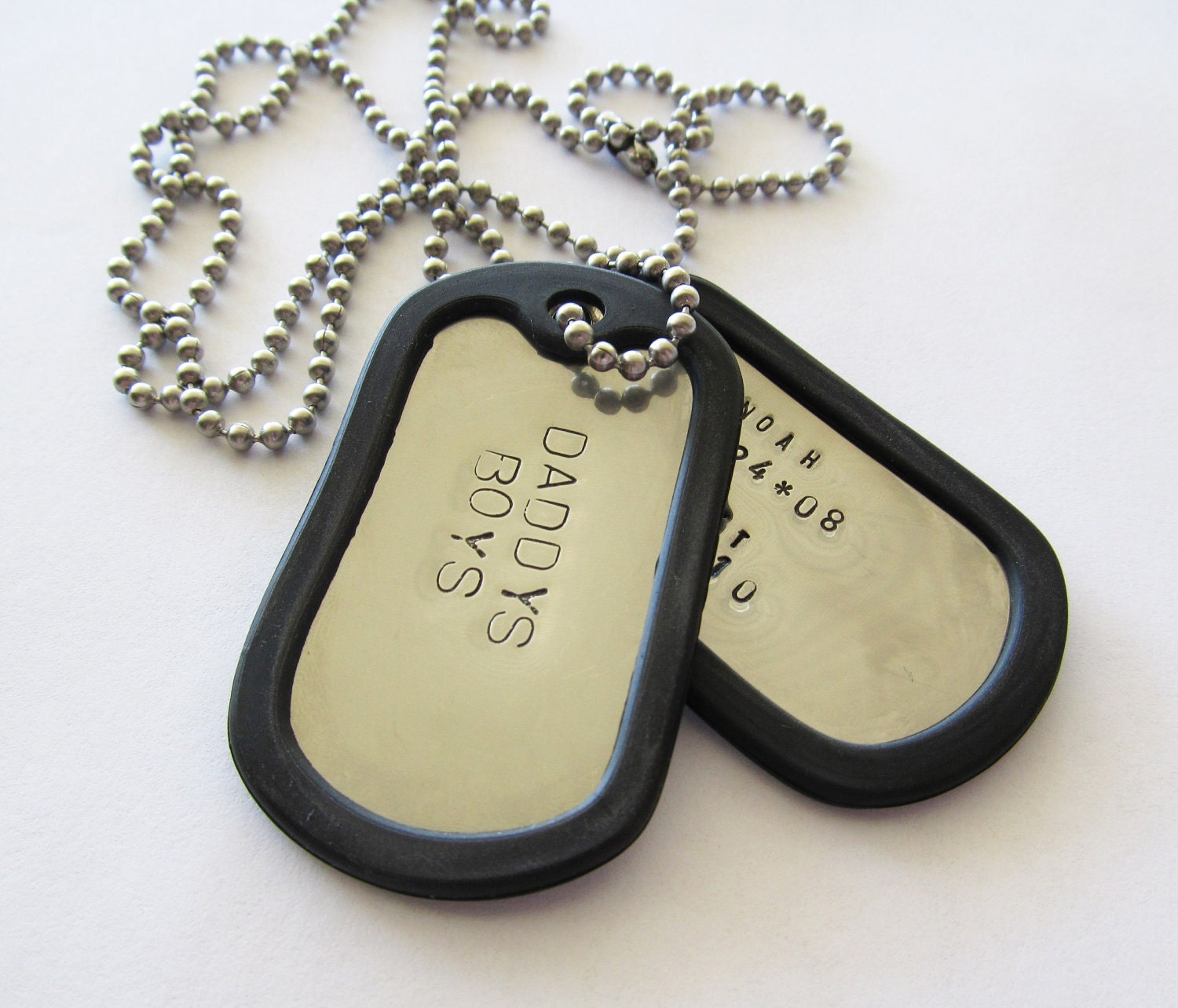 personalized dog tag necklace 2 tags hand stamped. Black Bedroom Furniture Sets. Home Design Ideas