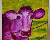 Purple Cow Painting..Eating grass all day gets me where...