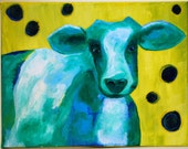 Funky Blue Cow Painting