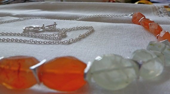 Gemstones Orange Carnelian & Pale Green Peridot Necklace with Tiny Silver Spacer Beads