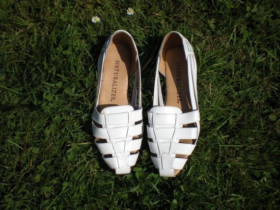 White leather Woven Vintage Women's Summer Sandals 8