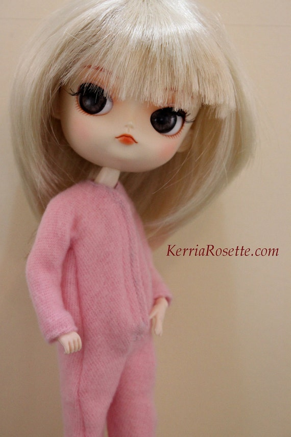 Pink Footsies Pajamas for Blythe, Dal or Byul Dolls