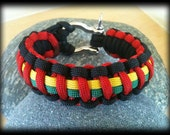 """550 four color Paracord Rasta Jamaican 9"""" (or request size) Survival Bracelet with Anchor Shackle"""