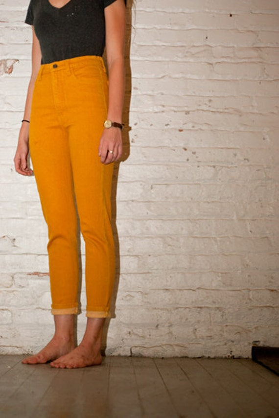 Yellow Trendy Straight Legged High Waisted Jeans