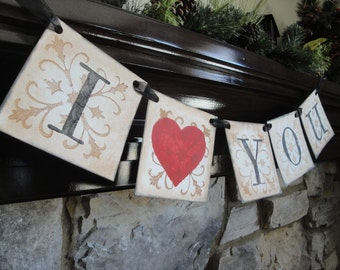 Valentines decoration, banner, I LOVE YOU, photo prop