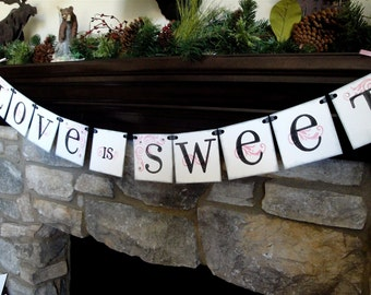 Wedding Banner LOVE Is SWEET, valentines CUSTOM to your wedding color