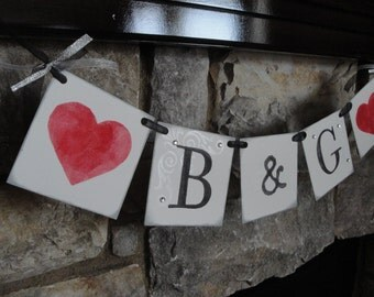 Wedding sign, INITIALS custom to your colors