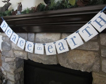 Christmas decoration PEACE on EARTH banner/ Garland / Sign Snowflakes