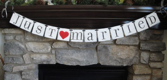 JUST MARRIED banner sign / custom colors / car sign