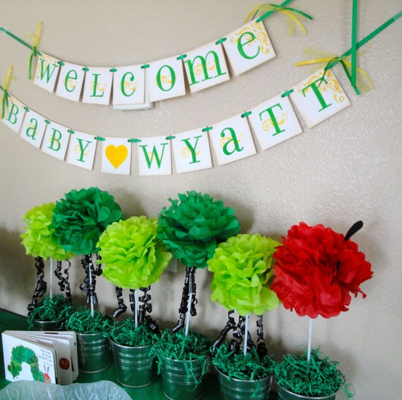 Baby Shower Custom Banners: Baby Shower Banner WELCOME BABY Custom With By