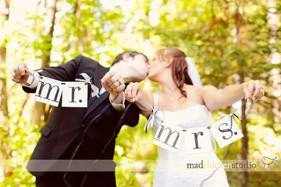 MR. and MRS. Banner / wedding chair hanger signs CUSTOMIZE to your wedding colors / Decorative rhinestones and ribbons