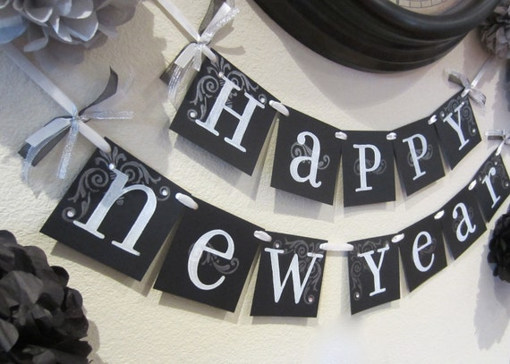 NEW YEARS sign, 2016 garland decoration wall hanging black and white