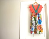 WOMENS DRESS / knee length / coral and green & multi color floral / medium