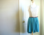 ASYMMETRICAL DRESS / knee length / cream lace, grey and teal / small