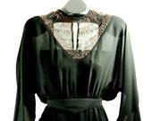 Handmade Beaded Black 70s Dress