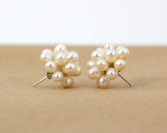 Authentic White Pearl Cluster Earrings