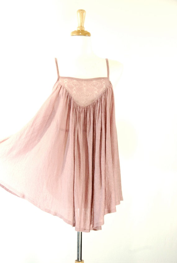 1970's Vintage Inspired Mauve Babydoll Blouse - Knitted Detail