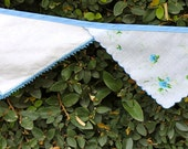 Banner Made With Vintage Handkerchiefs-Blue and White