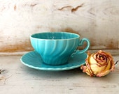 Robin's Egg Blue Tea Cup and Saucer Set