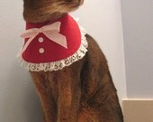 RED Bib Collar lace trim MED-LG