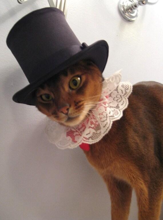 Black Satin Top Hat with grosgrain ribbon trim