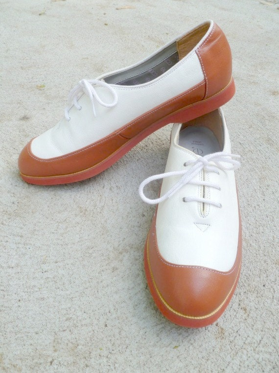 Brown and White Oxfords size 7