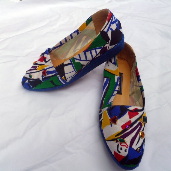 1980s Canvas Wedges/ Clownaround Rope Wedges size 9.5