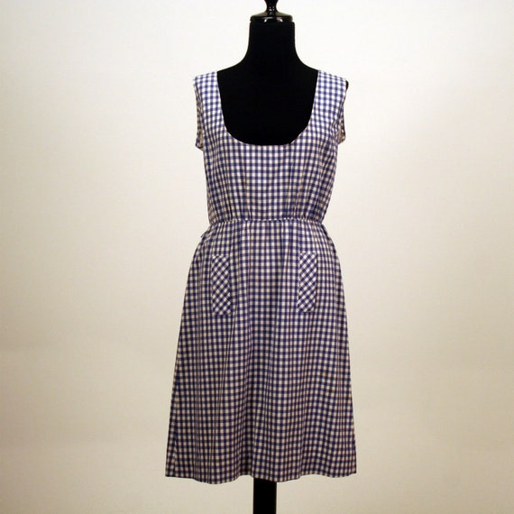 1960s Blue Gingham Jumper Dress/ 60s Dress